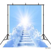 Sunshine Blue Skyเมฆสีขาวบันไดการถ่ายภาพพื้นหลังไวนิลฉากหลังสตูดิโอถ่ายภาพเด็กทารกภาพPhotoshoot