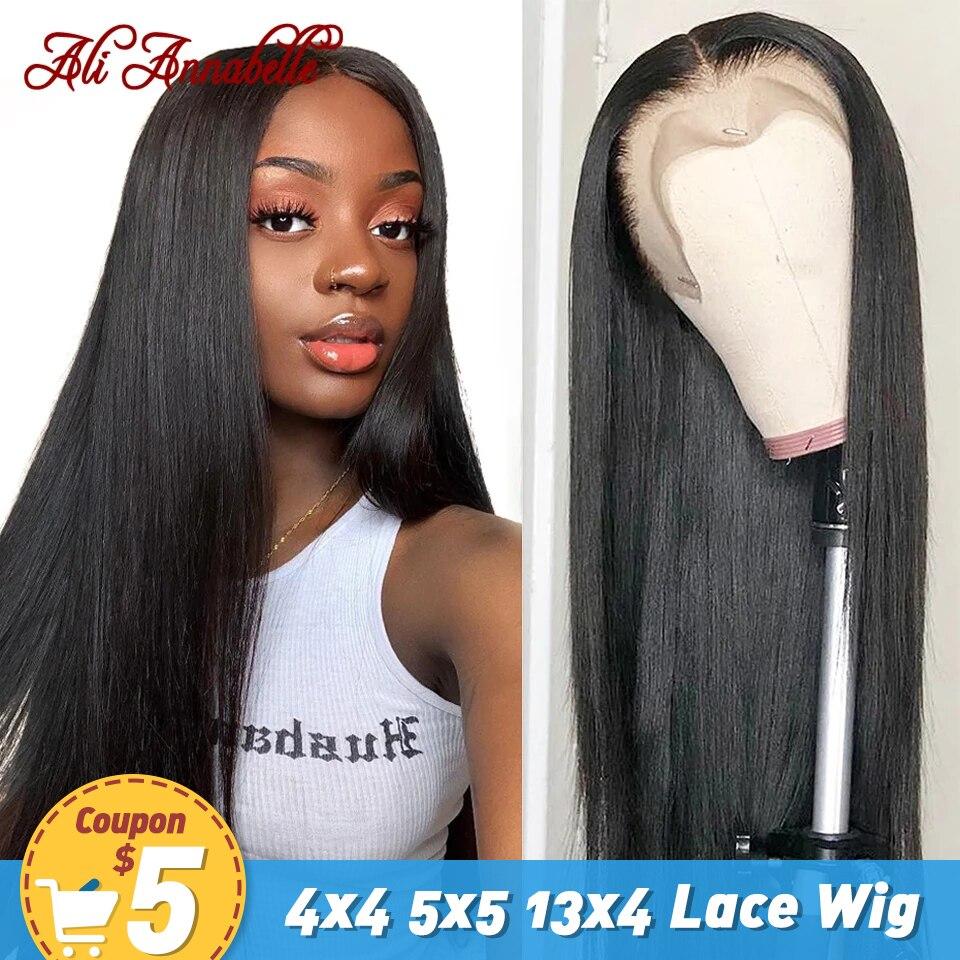 Ali Annabelle brasileño recto frente de encaje pelucas de cabello humano 13x4 Frontal de encaje pelucas Preplucked cabello 4x3 4x4 5x5 de cierre de encaje pelucas