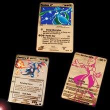 Новинка, Покемон го, цветная металлическая битва, Покемон, карты, Mewtwo, Пикачу; Чаризард, коллекция, подарок для детей, Покемоны, игрушки
