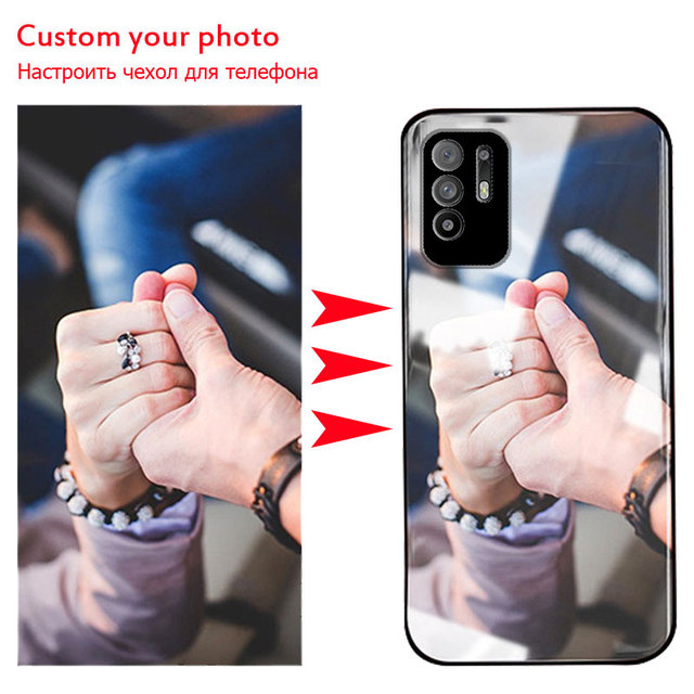 Customized Phone Case For Oppo Reno5 Z Glass Case Customized Picture Name OPPO A95 5G A94 5G F19Pro+ Cover Photo Cases DIY Make