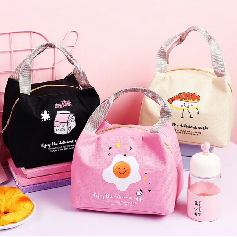 Lunch Bag Cute Rice Ball Sushi Letter Print Insulated Thermal Cool Bags Picnic Food Box Supply School Outdoor Office For Girl