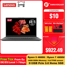 Original Lenovo Xiaoxin Air 15 2021 Laptop Ryzen Edition AMD Ryzen 7 4800U 16GB DDR4 512G PCIe SSD 15.6 Inch Notebook Windows 10