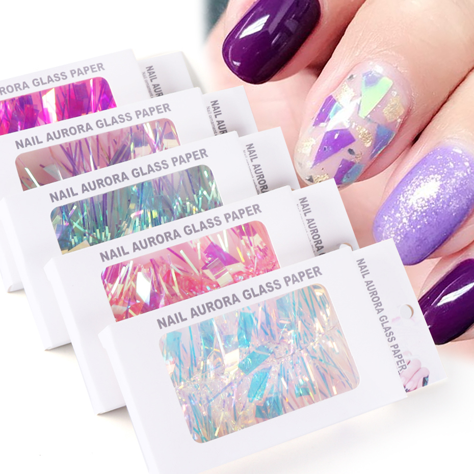 Holographic Aurora Glass Nail Art Stickers Transparent Glass Paper Sparkly 3D Decals Strip Nail Tape Polish Decorations JI1567