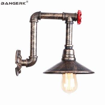 Retro Besi Pipa Air Lampu Dinding LOFT Dekorasi Dinding LED Lampu Industri Edison Wall Sconce Switch Samping Tempat Tidur Rumah Lampu