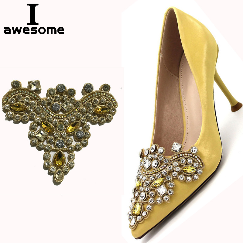 Shining Gold Beautiful Flower Bridal Wedding Party Shoes Accessories For High Heels Shoes DIY Manual Rhinestone Shoe Decorations
