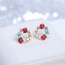 Korean Style Sweet Colorful Flower Stud Earrings for Women Girls Cute Crystal Animal Ladybug Earrings Charm Party Jewelry Gifts