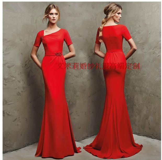 Short Sleeves Red Long Mermaid Prom Gown 2018 Vestido De Festa Floor-length Evening Formal Gowns Mother Of The Bride Dresses