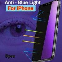 3pcs protezione dello schermo Anti luce blu per iPhone 11 12 13 Pro Max 6 7 8 Plus 11 Xs Max vetro temperato X S XR SE 2020 12 pro max