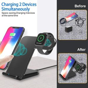 Image 5 - DCAE 10W Qi Wireless Charger Dock Station For iPhone 11 XS XR X 8 Samsung S20 S10 S9 Fast Charging Stand for Apple Watch 5 4 3 2