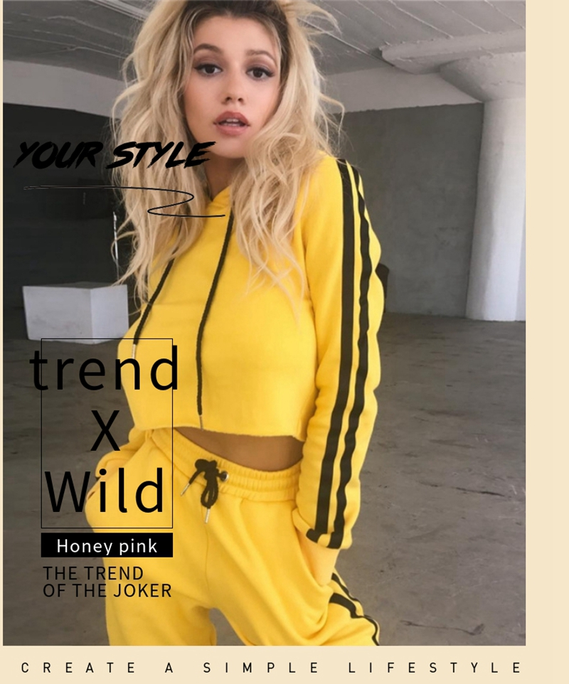 Women 2 Piece Sets Casual Long Set Tracksuit Pullover Full Coat Trousers Yellow Sports Suit Home Gym Breathable Cheap Clothes