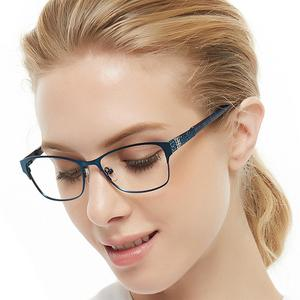 Image 2 - 金属メガネフレーム女性青色光眼鏡コンピュータ眼鏡ファッション超軽量近視メガネrhinestoneocciキアリbonez