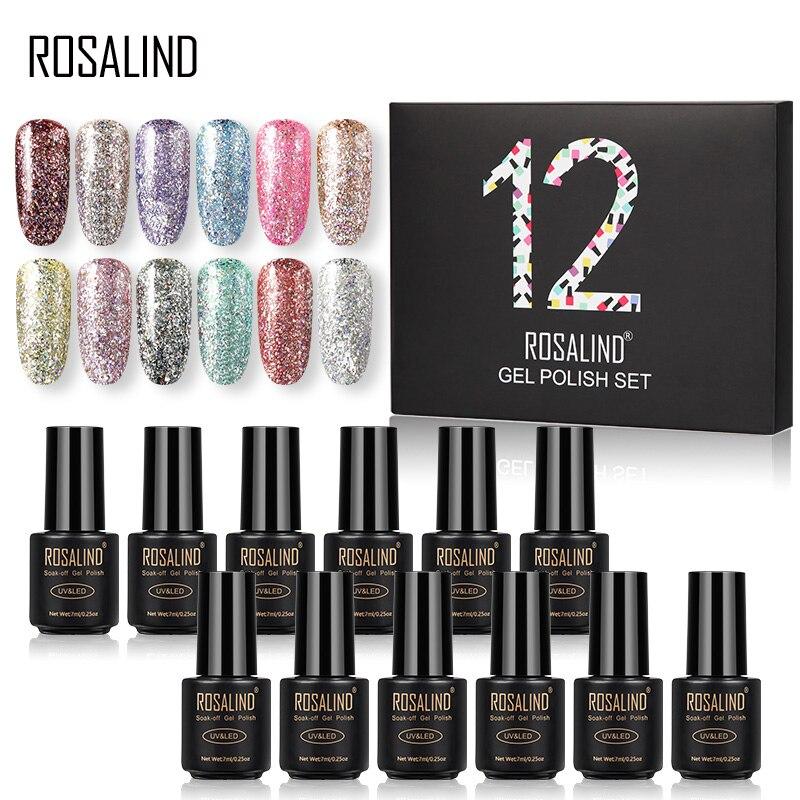 ROSALIND Gel Nail Polish Set 7ML Solid Color Set For Manicure Nail Polish Vernis Semi Permanent Nail Gel Polish Kit Top And Base