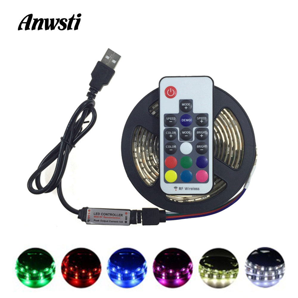 Ambilight TV LED Strip <font><b>USB</b></font> RGB SMD <font><b>5050</b></font> 5V Fita Tira LED Tape Stripe Ribbon Light Waterproof IR RF Remote Control Bias Lighting image