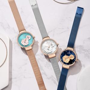 Image 5 - NAVIFORCE niebieski skórzany zegarek kobiet zegarki kwarcowe panie wysokiej jakości zegarek wodoodporny prezent dla żony 2019 Relogio Feminino