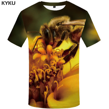 KYKU Bee T-shirt Men Flower Funny T shirts Plant T-shirts 3d Harajuku Tshirts Casual Funny Anime Clothes Short Sleeve T shirts
