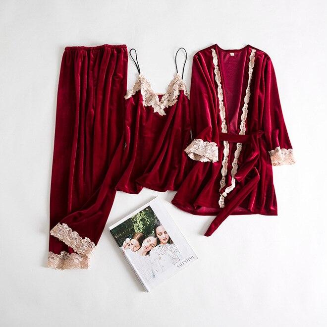 3PCS Women Casual Pajamas Set Velvet Home Clothes Lady Sexy Lace Pyjamas Suit Spring Autumn Robe&Nightie&Pant Nightwear M L XL 38