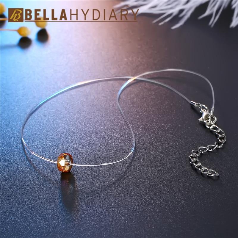 Bijoux Yellow Geometric Rhinestone Choker Necklaces Transparent Fishing Line Necklace Invisible Chain Necklaces Pendants Collier (5)