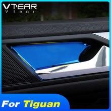 Vtear para VW Tiguan MK2 2020, 2019, 2018, puerta interior de manejar decoración de la cubierta de acero inoxidable adhesivo Auto productos accesorios