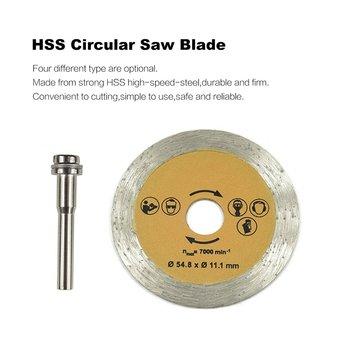 цена на HSS Circular Saw Blade Rotary Tool 54.8mm Mini Wood Cutting Discs Blades with Drill Mandrel for Dremel Metal Cutter