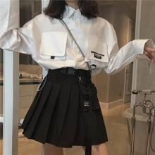 2020 New Summer Skirt Korean Retro Harajuku Style High Waist Pocket Tooling Plea