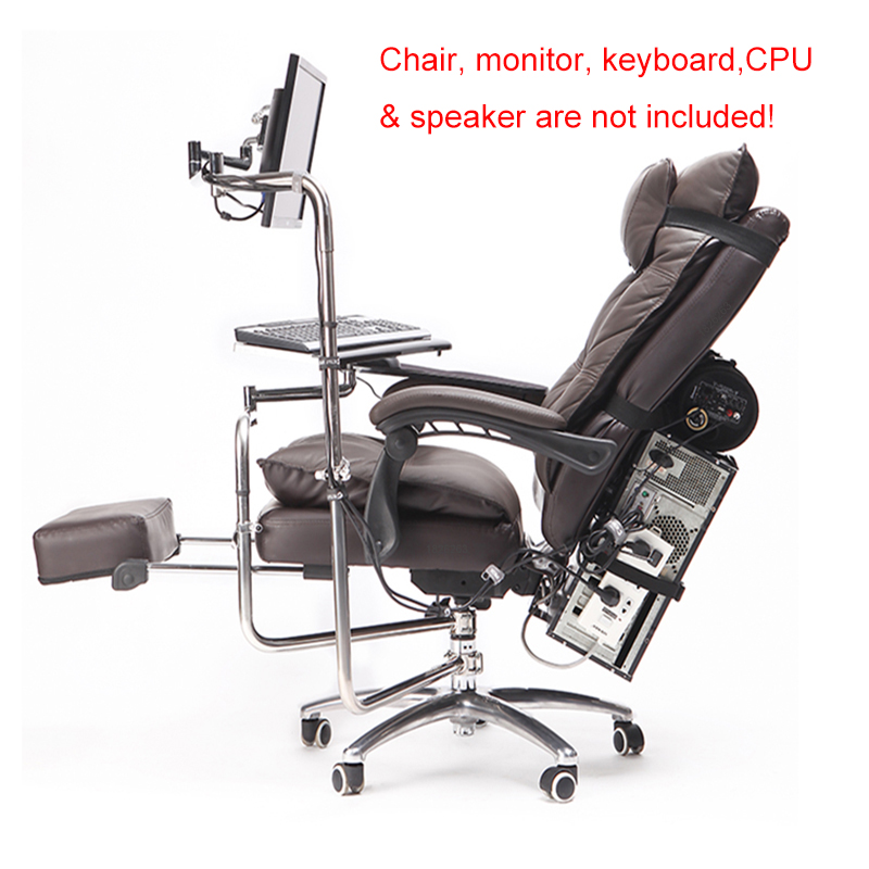 OK920 Full Motion Chair Shaft Monitor Mount Keyboard Holder +Chair Arm Clamp Elbow Wrist Support Mouse Pad For Game Office