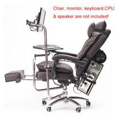 OK920 Silla de movimiento completo eje Monitor montaje teclado titular + silla brazo abrazadera codo soporte de muñeca Mouse Pad para juego Oficina