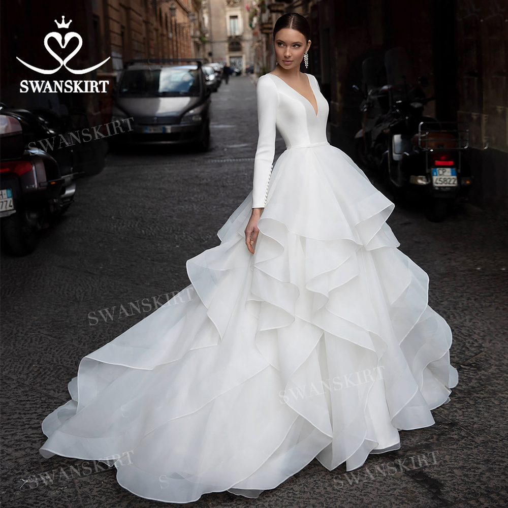 Wedding Dress Simple Long Sleeve Satin Ball Gown Ruched Tulle Bridal 2021 Princess SwanSarah N361 Customized Vestido De Novia