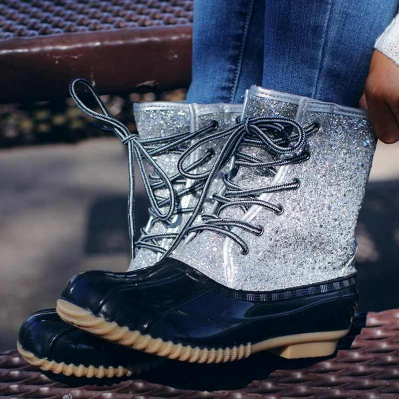 2019 femmes Sexy mode cheville neige bottes Bling Sequin hiver pluie bottes imperméable femme canard bottes femmes chaussures