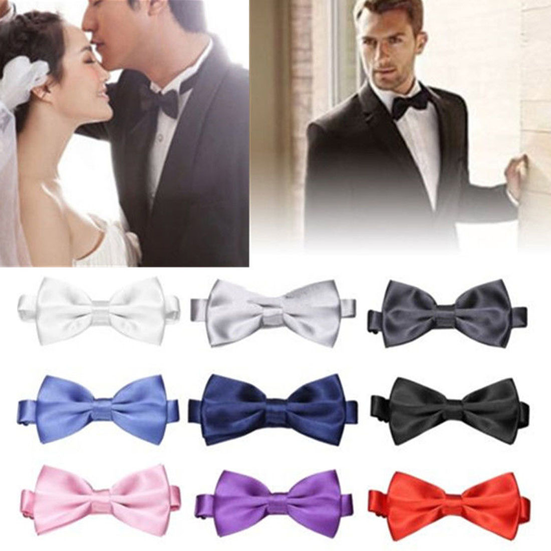 Men Fashion Classic Solid Color Butterfly Wedding Party Bowtie Bow Tie Groom Bow Tie Butterfly Knot Black Red White Mens Bowties