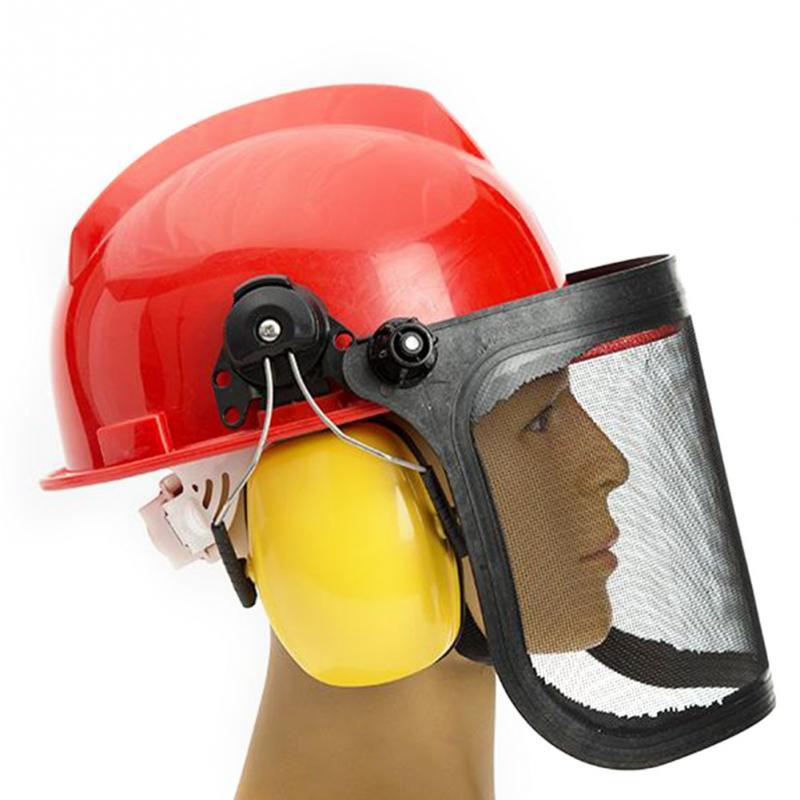 Garden Helmet Protective Mask Forestry Chainsaw Safety Helmet Hat Ear Defenders Metal Visor 180 Degrees Adjustable Ear Defenders