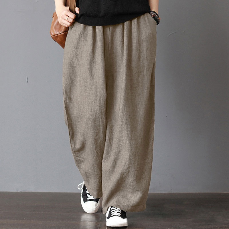 Meihuida Men Casual Loose Wide Leg Pants Casual Soft Cotton Linen Bloomers Trousers Harem Plus Size Home Pants