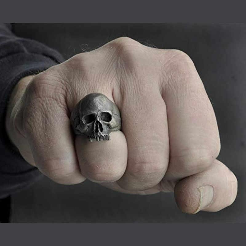 FDLK 새로운 빈티지 아연 합금 해골 실버 컬러 링 망 두개골 바이커 록 롤 고딕 펑크 쥬얼리 반지