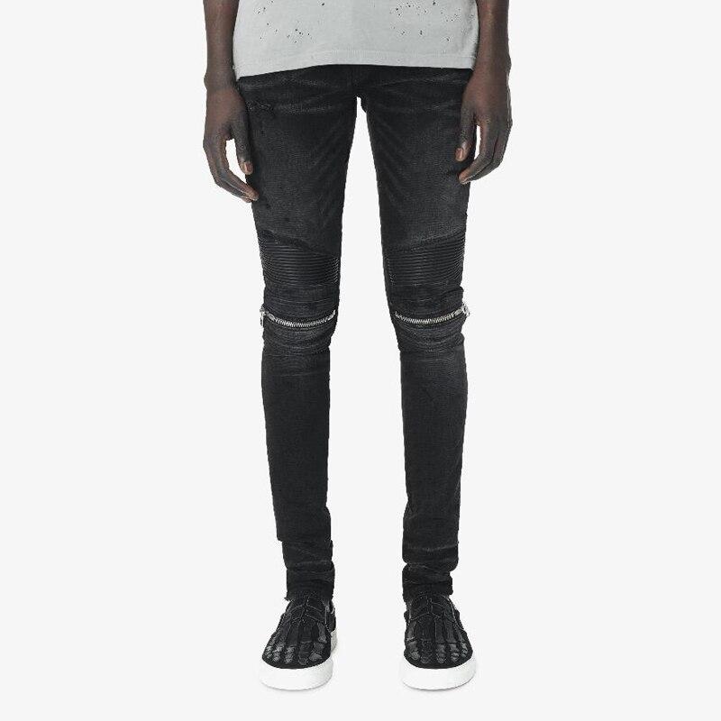 American Fashion Streetwear Men Jeans Retro Black Elastic Ripped Jeans Men Zipper Punk Pants Big Size 28-42 Hip Hop Skinny Jeans