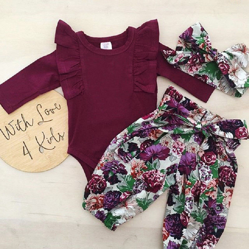 3PCS Newborn Baby Girls Romper Infant Baby Tops Ruffle Romper Floral Pants Headband Outfits Autumn Princess Girl Clothes Set
