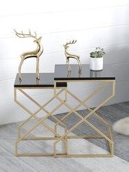 Nordic pequena mesa de café moderna minimalista sala de estar pequena mesa de café de mármore de tamanho familiar sofá combinação borda alguns 2019
