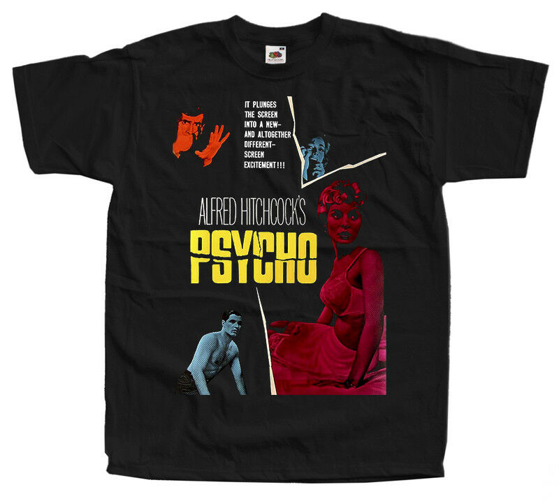 Psycho V3 Alfred Hitchcock movie 1960 T Shirts BLACK ALL SIZES S 5XL 2020 High quality Brand T shirt Casual Short sleeve O-neck image