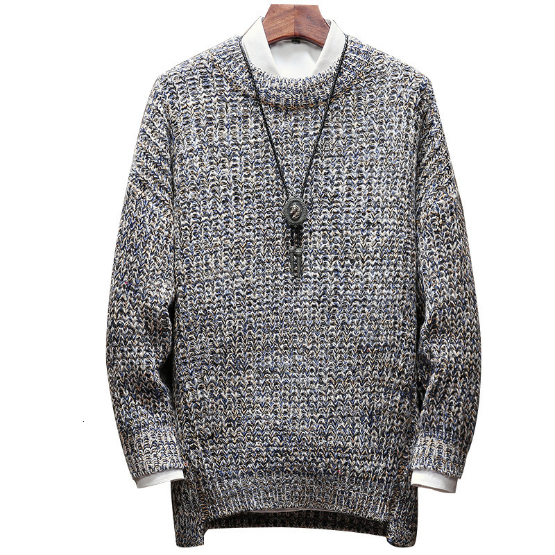 2020 Autumn Winter Mens Casual Knitted Sweater Fashion Solid O-Neck Long Sleeve Sweater Streetwear Slim Fit Tops Male Plus Size