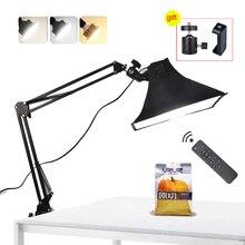 Светодиодный светильник, заполняющая лампа, софтбокс с отражателем, Настольная подвеска, кронштейн для телефона, видеосъемка в реальном времени, стол для фотостудии