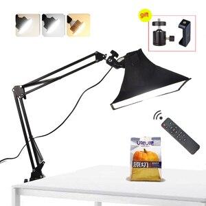 Luz led lâmpada de preenchimento refletor softbox desktop braço suspensão suporte telefone ao vivo vídeo tiro mesa fotografia estúdio
