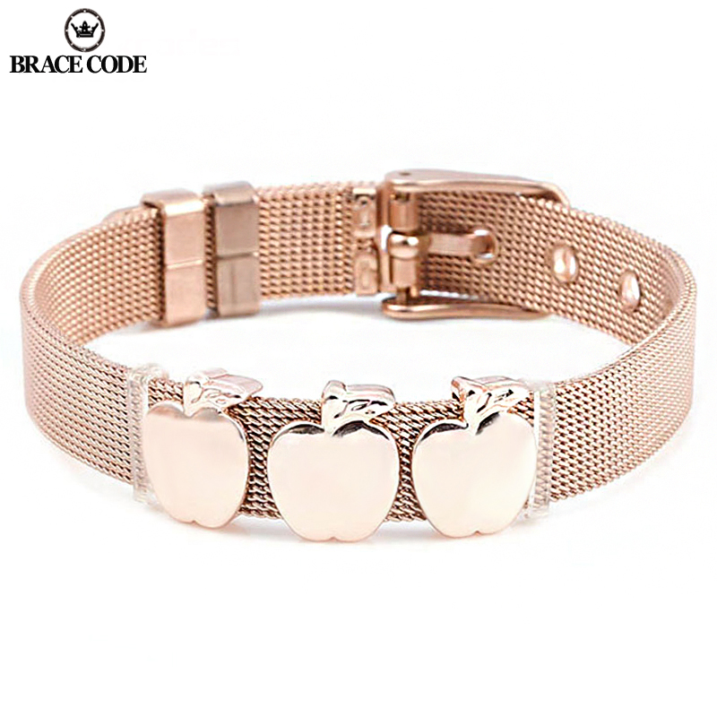 Nouveau bricolage pomme breloque Bracelet en acier inoxydable pour hommes et femmes bijoux de mode marque bijoux cadeau livraison directe