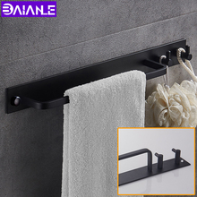 цена на Black Space Aluminum Towel Bar with Double Robe Hooks Wall Mounted Bathroom Accessories Towel Rack Towel Shelf With Hooks