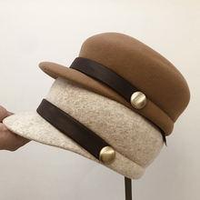 Японская шерстяная кожаная пряжка военная шляпа Повседневная