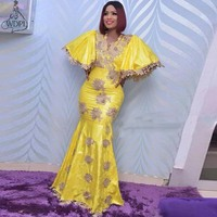 Bright Yellow Mermaid Evening Dress Plus Size Puffy Short Sleeves African Arabic Long Prom Dresses Lace Appliques Robe de soiree