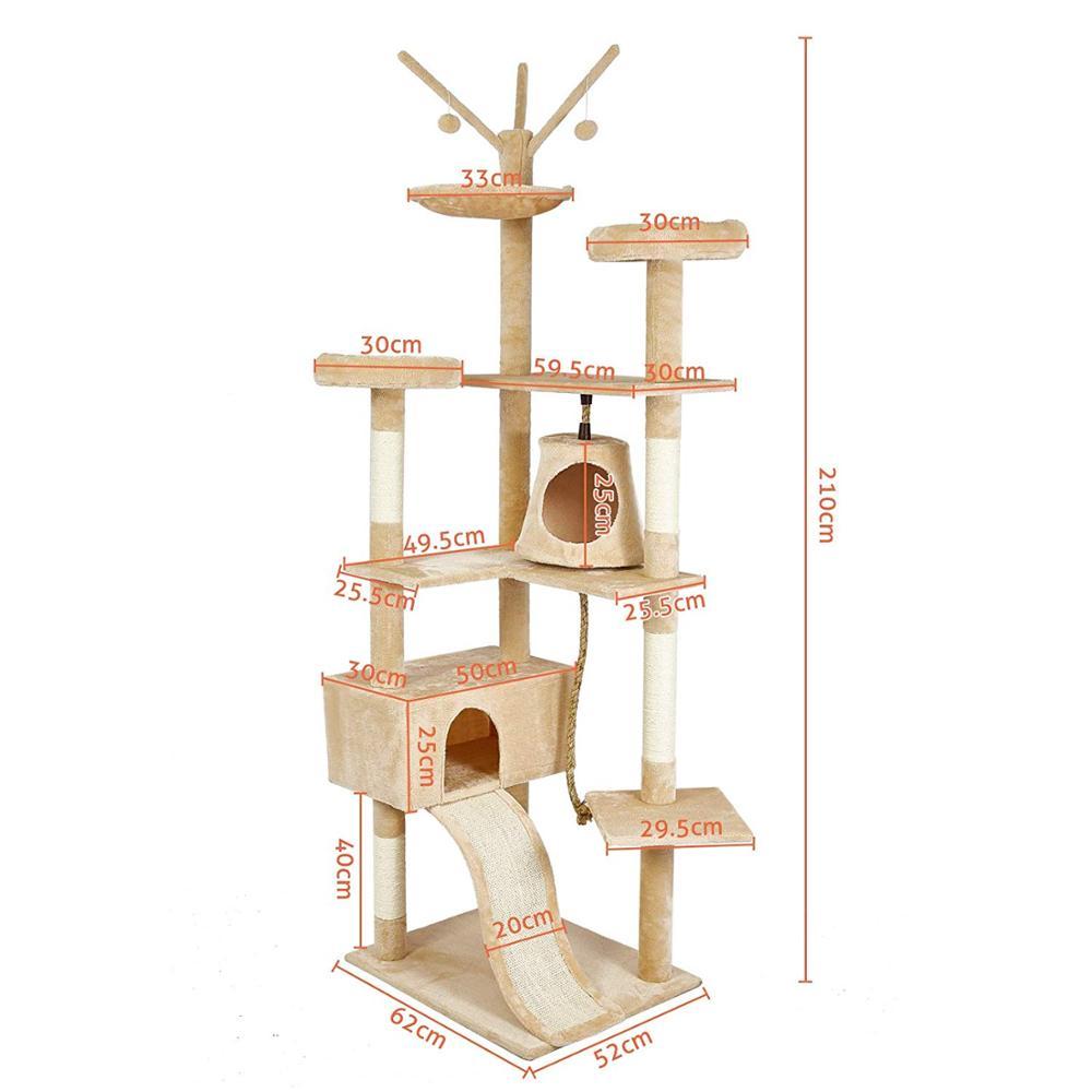 Gato poste para rascar s sisal Big Cat Tree Tower mueble de condominio poste para rascar juguete saltarín con escalera para gatitos Pet House Play C05 - 3