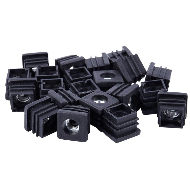 ABFU-Square Tubing Pipe End Caps Insert Plugs M8 Thread 20x20mm 20Pcs Black