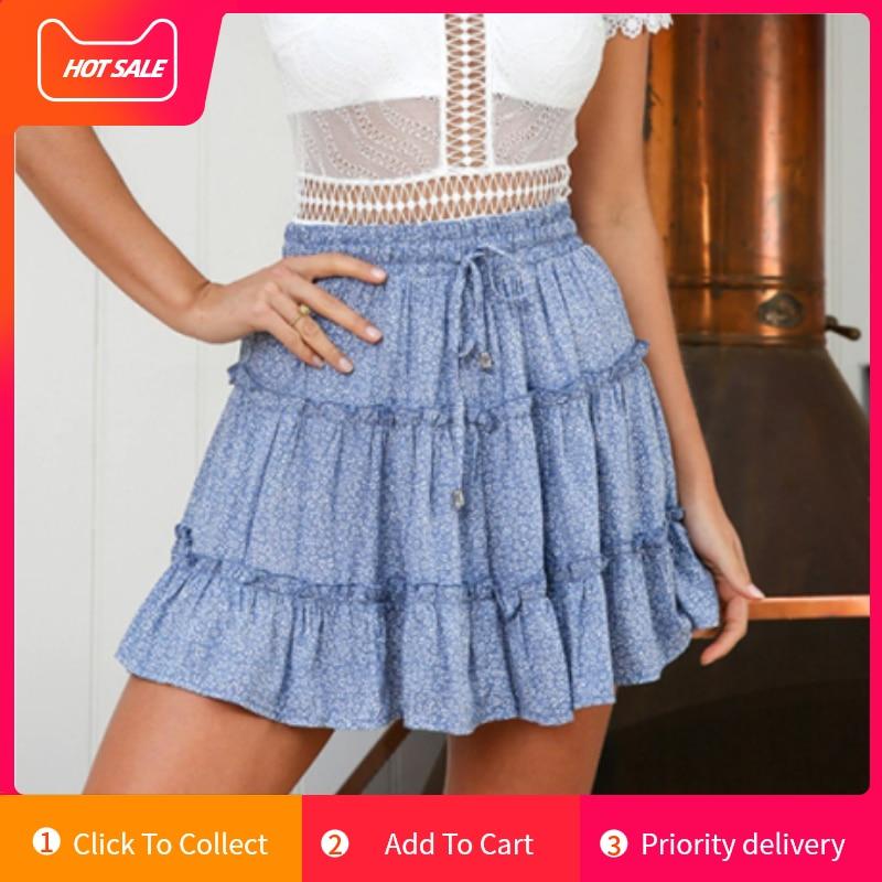 Summer Casual Bohe High Waist jupe femme Skirts Woman Fashion 2019 faldas mujer moda Ruffled Floral Print Beach Short Skirt