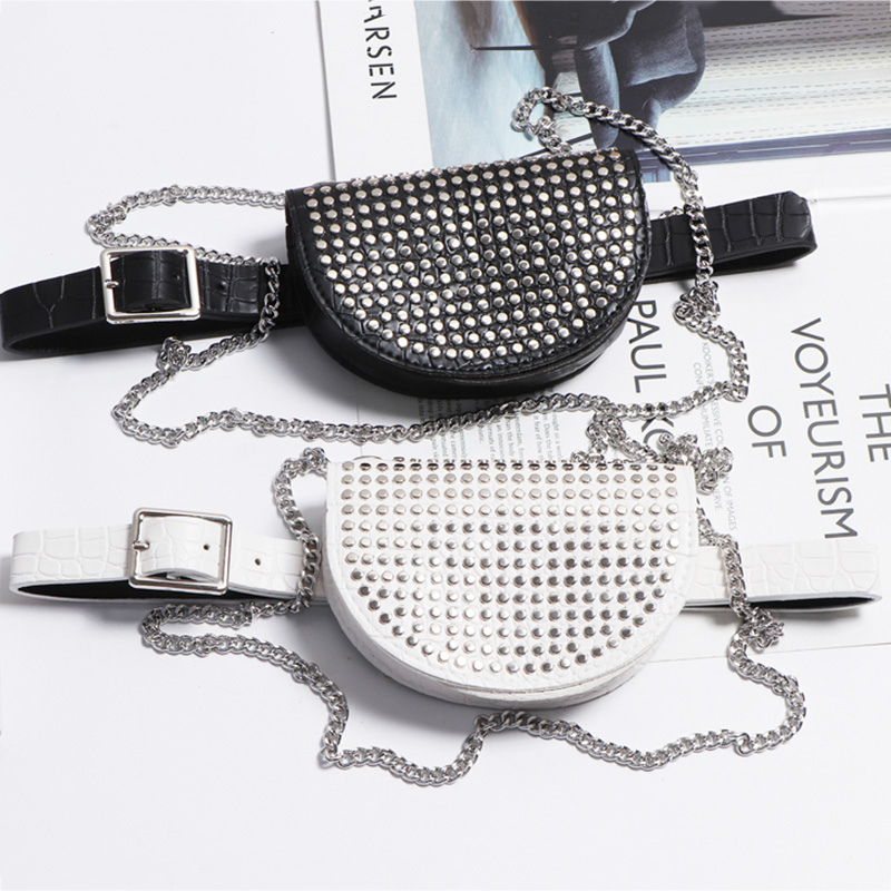 Waist Bag For Women Fashion Rivets Belt Bag Fanny Pack Luxury Designer Waist Packs Hip Package Chain Crossbody Bags Phone Purse