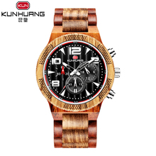 KUNHUANG Wood Watch Mens Watches Top Brand Luxury Wooden Watches Male Quartz Wristwatch Full Bamboo Men Clock Relogio Masculino