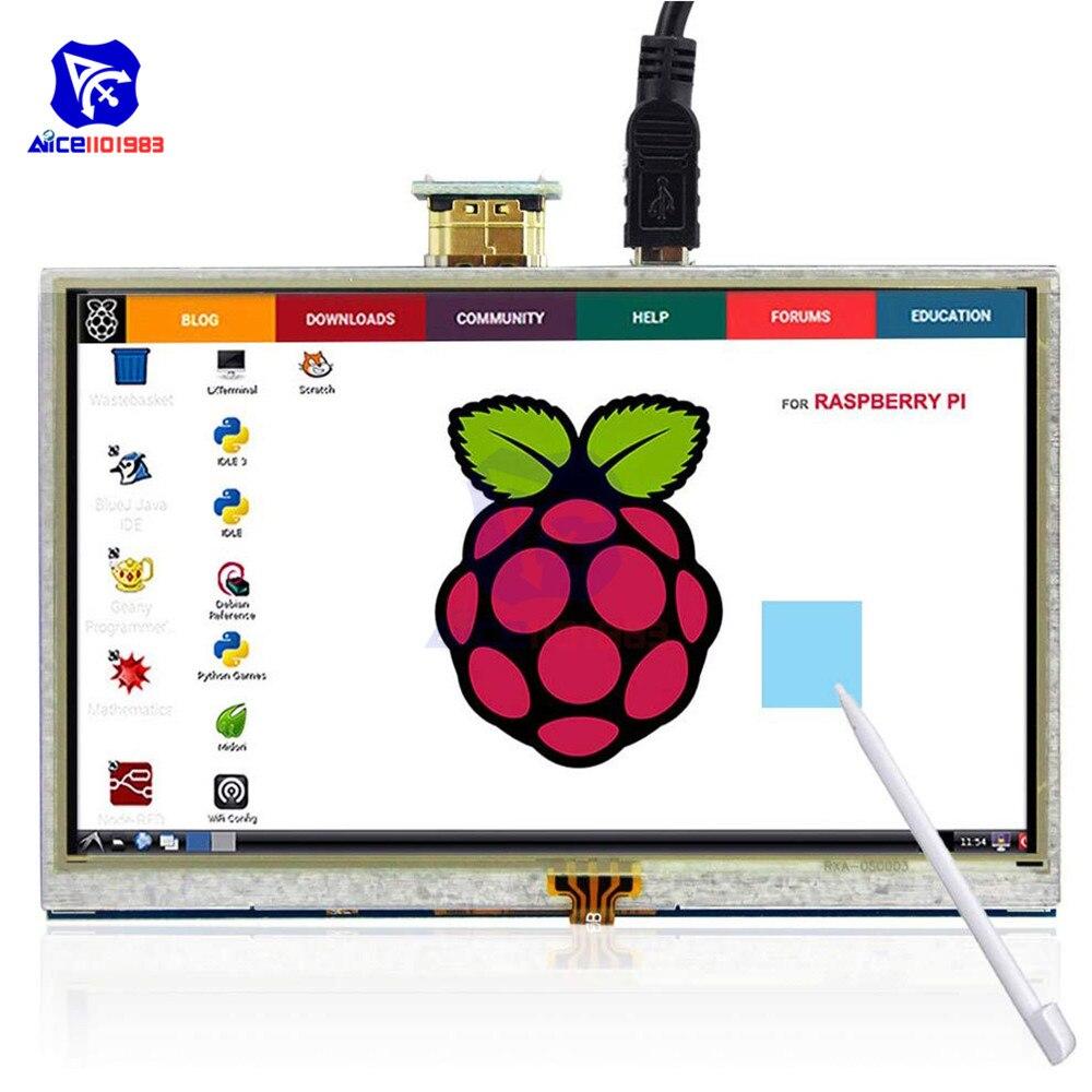Diymore 5 Cal ekran dotykowy ILI9486L 800x480 wyświetlacz TFT LCD interfejs HDMI z piórem dla Raspberry Pi 4B 3B + 3B 2B + Windows 10 7