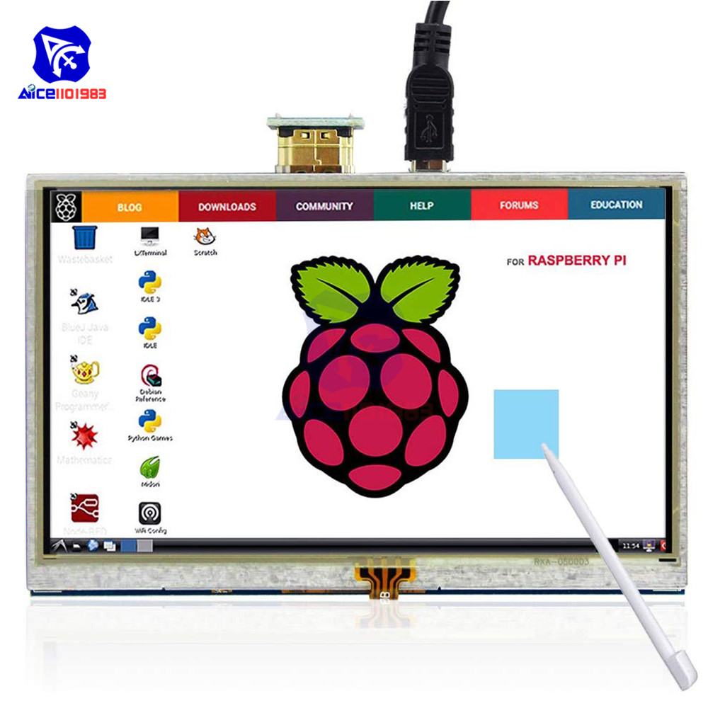 diymore <font><b>5</b></font> <font><b>Inch</b></font> Touch Screen ILI9486L 800x480 TFT LCD <font><b>Display</b></font> HDMI Interface with Pen for <font><b>Raspberry</b></font> <font><b>Pi</b></font> 4B 3B+ 3B 2B+ Windows 10 7 image